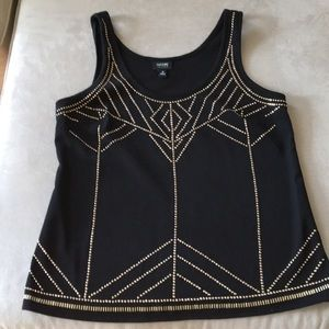 Nicole Miller Black Tank Top with Gold Accents